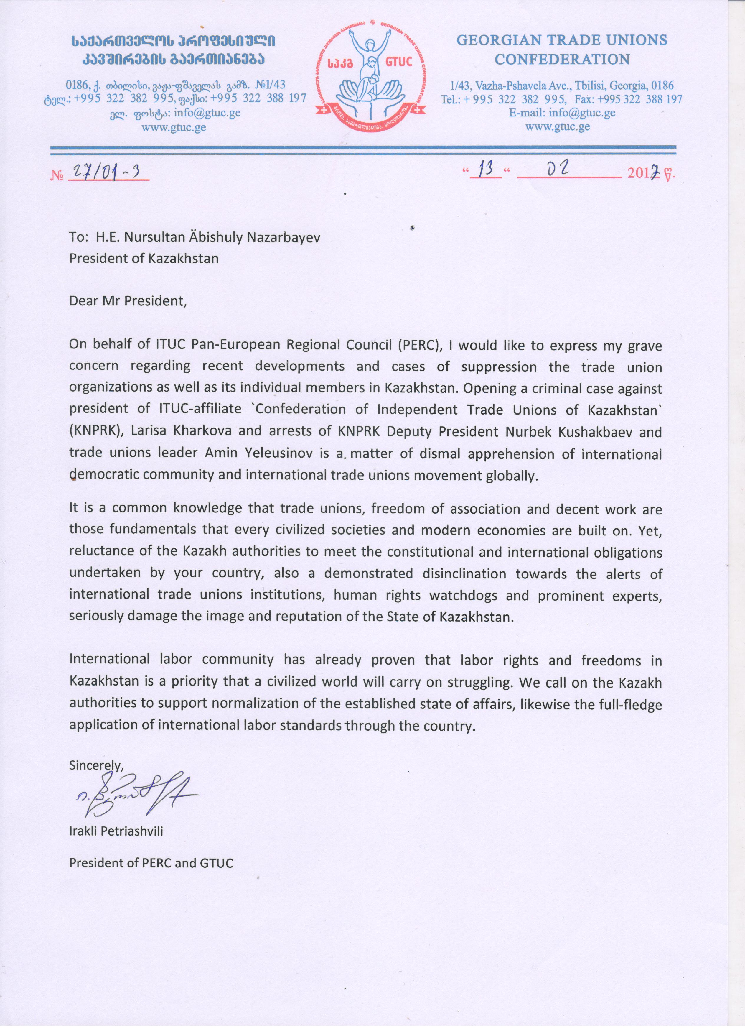 A letter to the President Nazarbayev by the President of PERC